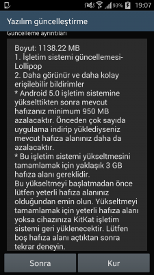 Samsung galaxy s4 android 5.0 guncellemesi